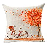 MFGNEH Home Decor Red leaves and Bicycle Cotton Linen Fall Pillow Covers 20x20, Throw Pillow Case Cushion Cover for Sofa