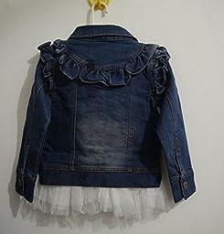 Gaorui girl flower blue denim coat Outwear Denim Jacket Girl Kids Lace Cowboy Jacket