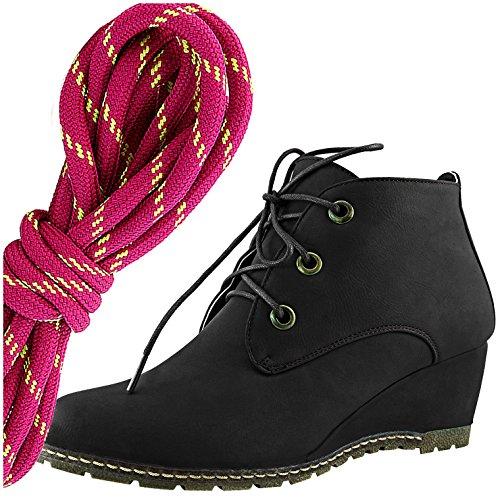 Dailyshoes Moda Donna Allacciatura Punta Rotonda Stivaletto Zeppa Alta Oxford Con Zeppa, Hot Pink Lime Nero Pu