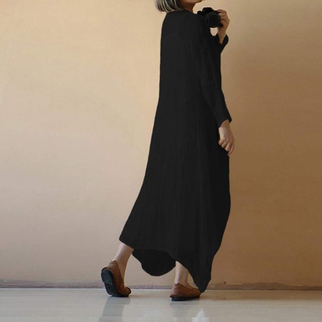 Noir MJY Robe longue pour femme maxi, Boho - Irrégulier Plus La Taille Baggy Coton à Manches Longues Vintage,Noir,3  L = UK 16 5  L = UK 20