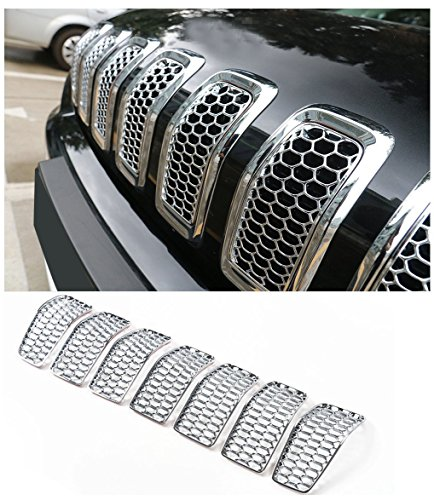 Nicebee 7 pcs Silver Headlight ABS Front Turn Signal Trim Grill Ring Mesh Grille Cover Insert Fits For Jeep Cherokee 2014-2017