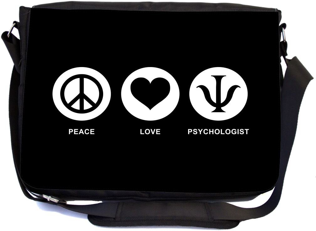Rikki Knight Peace Love Psychologist Black Color Design Premium Messenger Bag - School Bag - Laptop Bag - with Padded Insert for School or Work - with Matching Pencil Case