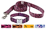 Country Brook Design Pink Leopard Print Premium Dog Collar & Matching Leash Set-L