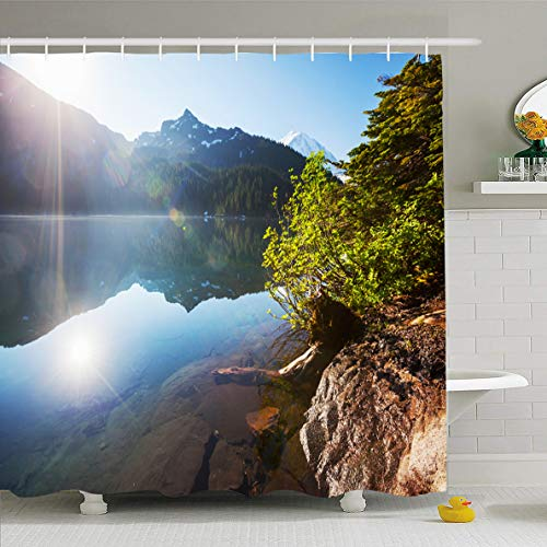 Ahawoso Shower Curtain 60x72 Inches America Lake Mountains Mt Rainier Mp Nature Mount Parks Fall Forest High Hike Design Waterproof Polyester Fabric Bathroom Curtains Set with Hooks