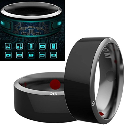 Alotm R3 Smart Ring Waterproof Dust-proof Fall-proof for NFC Electronics Mobile Phone Android Smartphone Wearable Magic App Enabled Rings Intelligent Devices (Size 8)