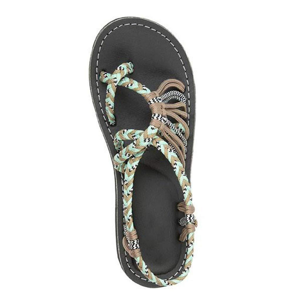 Hilotu Women's Summer Roman Braided Sandals Boho Ring Toe Beach Slippers Fashion Retro Versatile Sandals (Color : Khaki, Size : 6.5 M US)