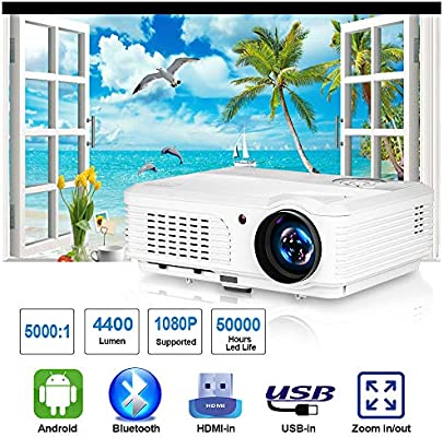LCD Proyector WiFi Bluetooth WXGA 4200 Lumen LED Android 6.0 Vídeo ...