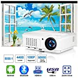 WiFi Projector, EUG 4400 Lumen LCD HD Smart TV Projectors with Bluetooth, Android 6.0, HDMI, USB, RCA Audio, Airplay 1080P Support, Wireless Proyector Home Theater for Movies Games Sports Arts