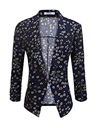 POGT Women 3/4 Sleeve Blazer Open Front Cardigan Jacket Work Office Blazer