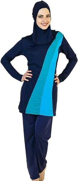 Asien L ~ EU-Gr/ö/ße 38-40, schwarz YEESAM Muslimischen Badeanzug Muslim Islamischen Bescheidene Badebekleidung Modest Swimwear Burkini f/ür muslimische Frauen Hijab abnehmbaren