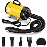 ITORI 3.2 Hp Pet Grooming Hair Dryer/Heater/2400w with High-Power Stepless Adjustable Speed and Temperature Motor and 4 Different Nozzles, Yellow