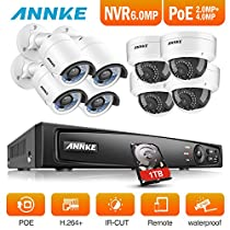 ANNKE HD 4-Megapixel 8Ch Network POE NVR Security System and (4) 4MP Outdoor Bullet IP Cameras (4) 2MP Outdoor Dome Cameras, 100ft Night Vision, Power over Ethernet, 1TB HDD