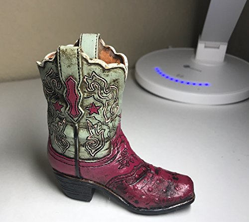 Polly House Small Western Cowboy Cowgirl Rustic Burgundy Star and Flowers Boot Vase Toothpick Pen Pencil Holder