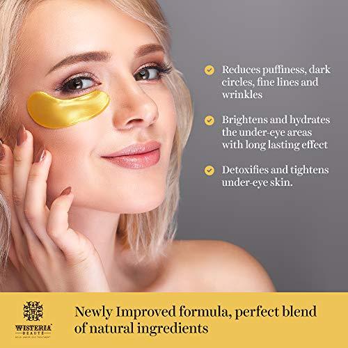 51E6NMJJRRL - Wisteria Beaute Luxury 24k Gold Anti-Aging Eye Masks, Under Eye Patches/Under Eye Masks for Puffy Eyes & Under Eye Bags Treatment, Improves Elasticity (15 Pairs)
