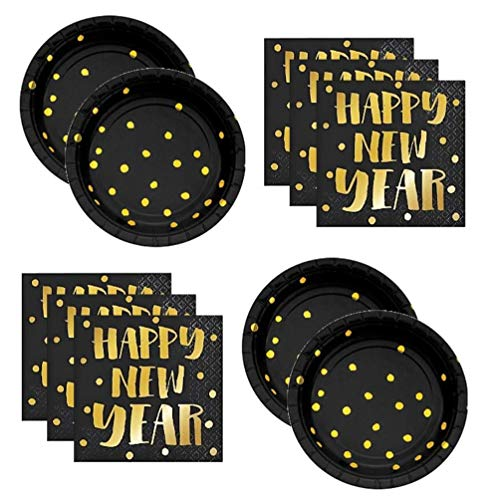 New Years Eve Party Plates and Napkins for 24 Guests Appetizer or Dessert -