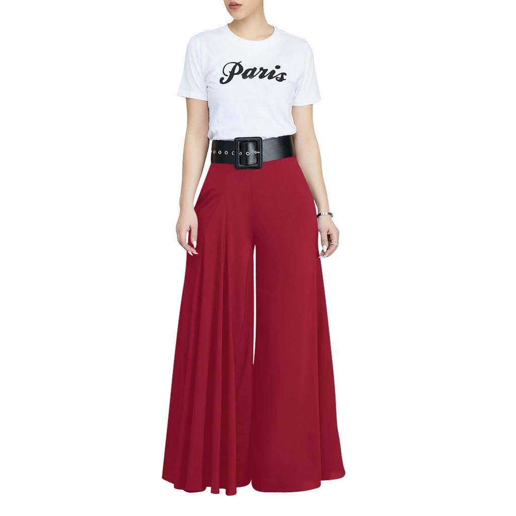 VEZAD Store Wide Leg Pants Women's Solid Pleated Loose Casual Comfortable Trousers Red by VEZAD Store