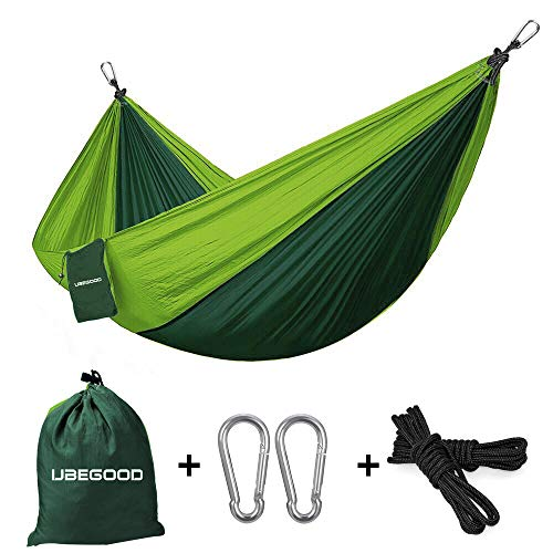 - UBEGOOD Double Camping Hammock, Portable Nylon Parachute Double Hammock for Outdoor Backpacking Hiking Camping Travel Garden Swings, Heavy-Duty 500lbs