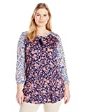 Lucky Brand Women's Plus Size Mixed Floral Top, Multi, 1X