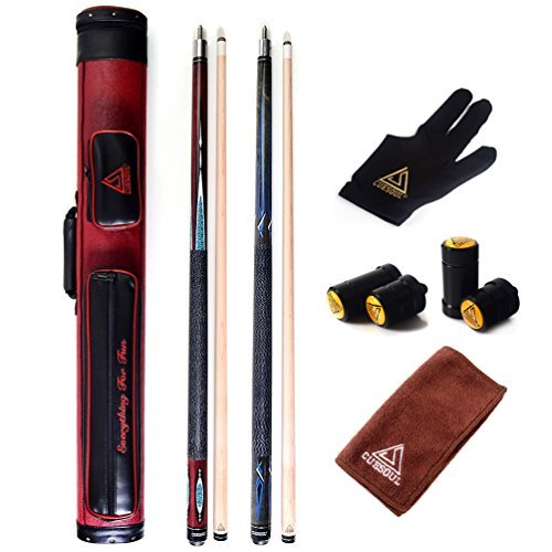 CUESOUL Set of House Bar Pool Cue Sticks Combo - 2 Cue Sticks Packed in 2x2 Hard Pool Cue Case E102