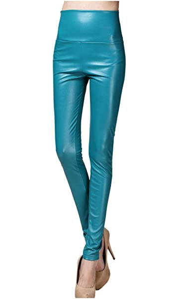 cc39165b23a09d Lotus Instyle Thick High Waist Faux Leather Leggings Women Leather Pants-Aquablue  S at Amazon Women's Clothing store: