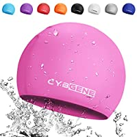 CybGene Silicone Swim Cap for Women and Men, Swimming Cap for Girls and Kids, Swim Capris for Long Hair One Size (Pink)
