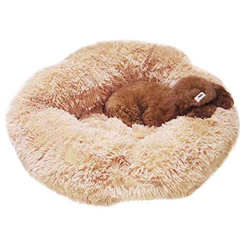 (Milemelo Luxury Fluffy Donut Cuddler Pet Bed-Round Donut Cat and Dog Cushion Bed Self-Warming and Cozy for Improved Sleep Pet Supplies(XS-L))