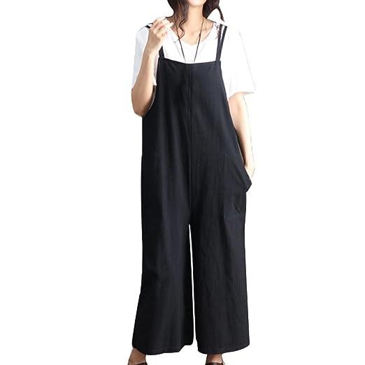 d7b55a590a56 Loose Jumpsuit Strap Wide Leg Harem Trousers Casual Overall Slacks (Black