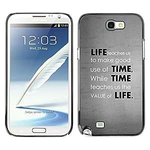 Cubierta de la caja de protección la piel dura para el SAMSUNG GALAXY NOTE 2 / N7100 - Deep Message Value Of Life