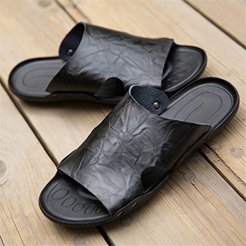 Color Sandali da 44 pelle BINODA da Dimensione Pantofole antiscivolo EU Sandali Nero con morbida spiaggia uomo in Nero vera suola wwS6zq40