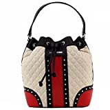 Love Moschino Women's Quilted & Studded Nude Leather Drawstring Satchel Handbag