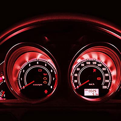 YITAMOTOR 20x T5 3-SMD Instrument Panel Cluster Dash Pure Red LED Bulb Light Lamp 74 70 37 17: Automotive