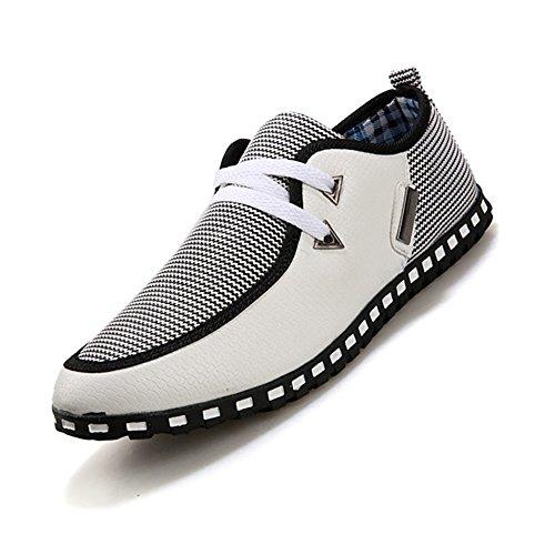 Imbardata Grigio Mocassini Driving Tela 42 Eleganti Shoe Eur Scorrevole Di Us 42 r Uk Tesse 8 Tagliandi Taglia Uomo 8 Da 5 Toogoo Bianco EPa68wqYW