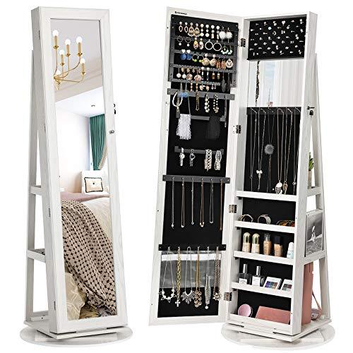 SONGMICS 360° Swivel Jewelry Cabinet, High Full Length Mirror, Lockable Jewelry Armoire, -