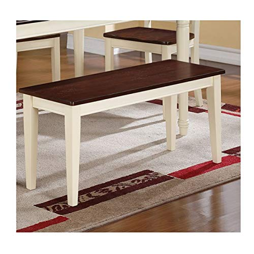 Modern Cherry and White Finish Wood Dining Bench with a Rich Cherry Wood Veneer for The Seat