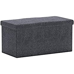 "Otto & Ben 30"" Storage Ottoman - Folding Toy Box Chest with Smart Lift Top, Linen Fabric Ottomans Bench Foot Rest for Bedroom, Dark Grey"