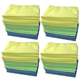 Think Crucial 48 High Quality Multi-Surface Multi-Color Polishing Microfiber Durable Towel Cleaning Cloths, Cleans Glass, Hard Surfaces, More, 16x12