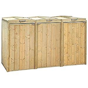 Wooden 3 Wheelie Bin Storage Unit