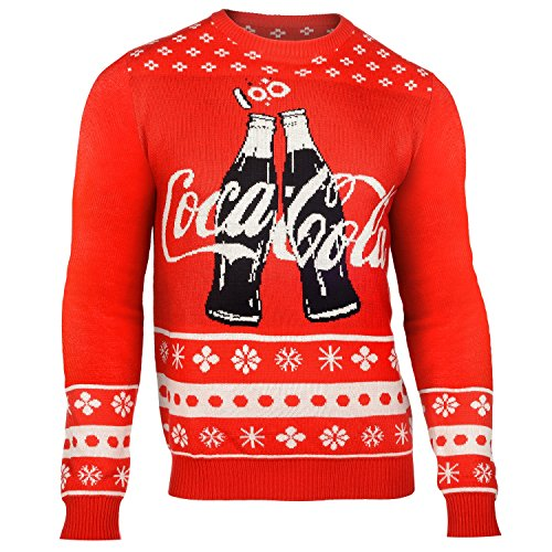 Klew Coca Cola 2015 Ugly Crew Neck Holiday Sweater (Coca Cola 2 Bottles, Large)
