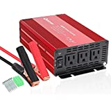 Quesvow 1000W Car Power Inverter DC 12V to 110V 3 AC Outlets Home Car RV Solar Power Converter for Household Appliances in case Emergency, Hurricane, Storm and Outage