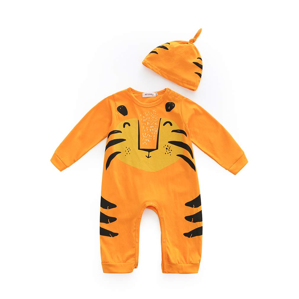 Zhongke Baby Jumpsuit Unisex Baby 1 pieza manga larga Newborn Sleepsuits Dinosaur Infant Pijamas Toddlers Cute Soft Boys Cartoon Cat Romper Ni/ños y ni/ñas