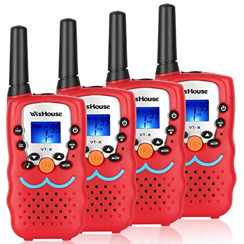 Kids Walkie Talkies, Two Way radios Easter Toys for Boys and Girls,Cool Walky Talky Long Range for Spy Games Hiking Camping Outdoor Adventure Game(VT-8 Red,4 Pack)