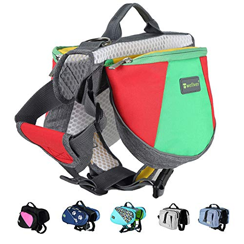 Wellver Adjustable Dog Saddle Bag Backpack, Hound Travel Saddle Bag Packs Hiking Walking Camping for Small & Medium & Large & Extra Large Dogs