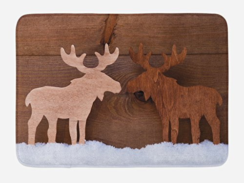 Lunarable Moose Bath Mat, Timber Elk Figure in Different Tones Romantic Noel Time Romance Joy Vintage Style, Plush Bathroom Decor Mat with Non Slip Backing, 29.5 W X 17.5 W Inches, Brown and Tan - Moose Bath Rug