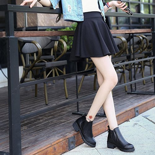 5 Gillberry Thigh High nbsp; Black Platforms Women Heel Square Pump Boots High 5cm Leather Boots nbsp;Shoes Sxqw6SfR