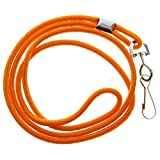 Premium Round ID Badge Neck Lanyards for Card Holders and Name Tags - 36 In Non-Breakaway Heavy Duty Cord & Secure Metal Swivel J Hook Clip by Specialist ID (100 Pack, Orange)