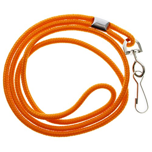 25 Pack - Premium Round ID Badge Neck Lanyards for Card Holders and Name Tags - 36 in Non-Breakaway Heavy Duty Cord & Secure Metal Swivel J Hook Clip by Specialist ID (Orange)
