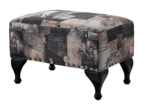 Kings Brand Furniture Multi Black Fabric Upholstered Footstool Ottoman