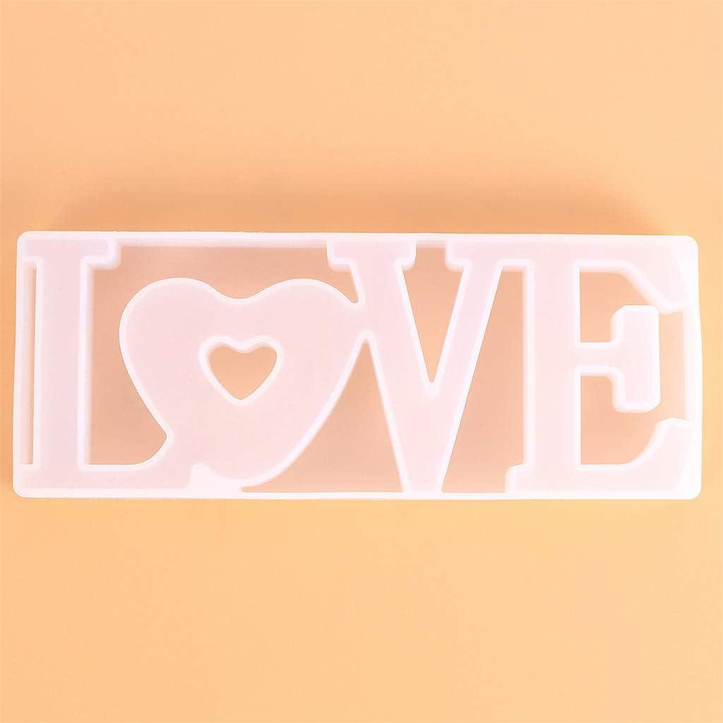 Regalo de San Valent/ín decoraci/ón de Mesa de Bricolaje Molde de Silicona con Forma de coraz/ón de Cristal epoxi Love de Silicona FBGood Molde de s/ímbolo de Amor para la Resina epox/ídica Boda