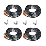 EWETON 4 Pack 100 Feet BNC Video Power Cable Security Camera Wire Cord Extension Cable with 8pcs BNC to RCA Connectors for CCTV DVR Surveillance System