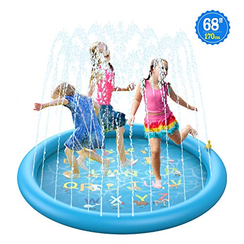 BOIROS Splash Pad Water Sprinkler Mat for Kids, 68'' 3-in-1 Summer Wading Pool Outdoor Play Mat, Inflatable Water Kiddie Pool Toys for Toddlers, Babies, Infants, Boys, Girls Playing & Learning